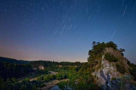 Night skies over the narrows on the Buffalo River in Arkansas