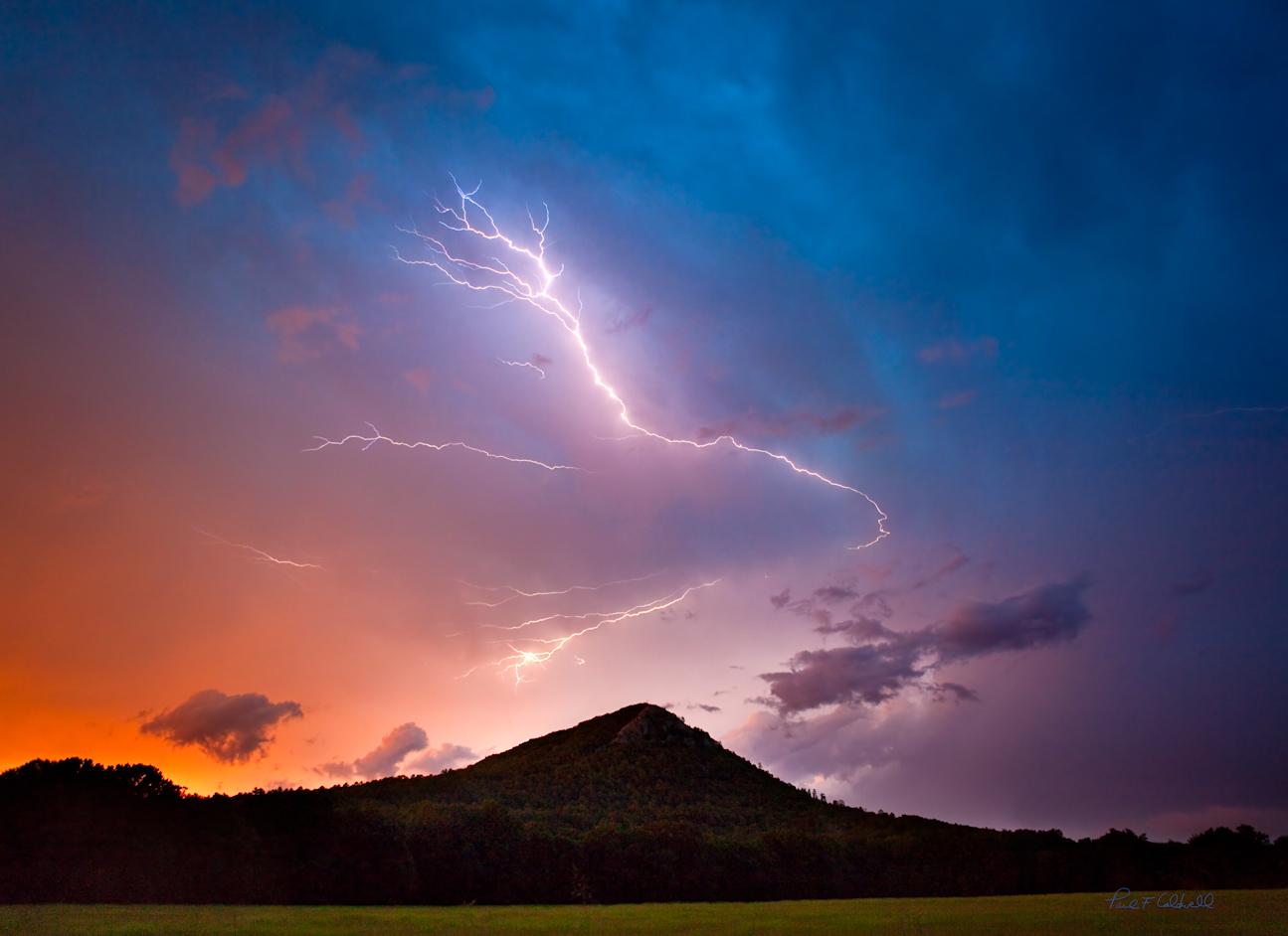 Lightening stike over Pinnacle Mountain in Pulaski County Arkasnas