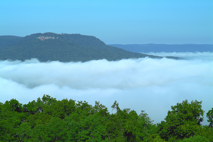 A view of Red Rock and a foggy morning in the Middle Buffalo River Valley