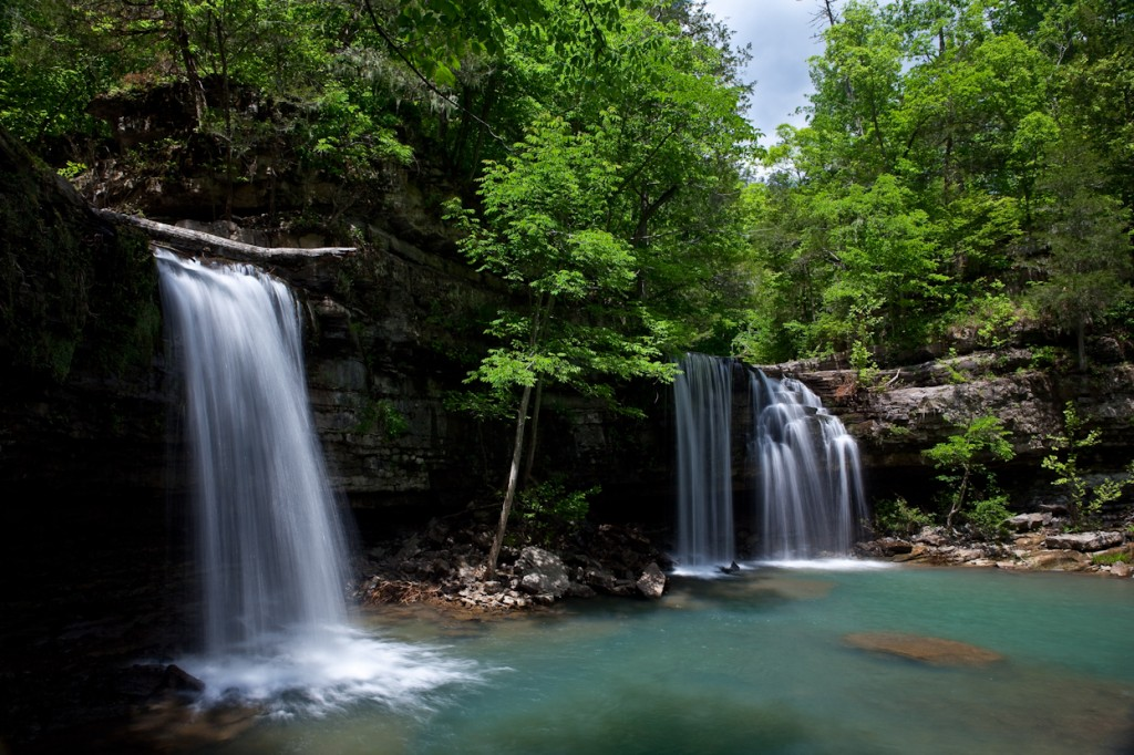 Twin Falls on Big and Long Devils Creek in Newton County Arkansas