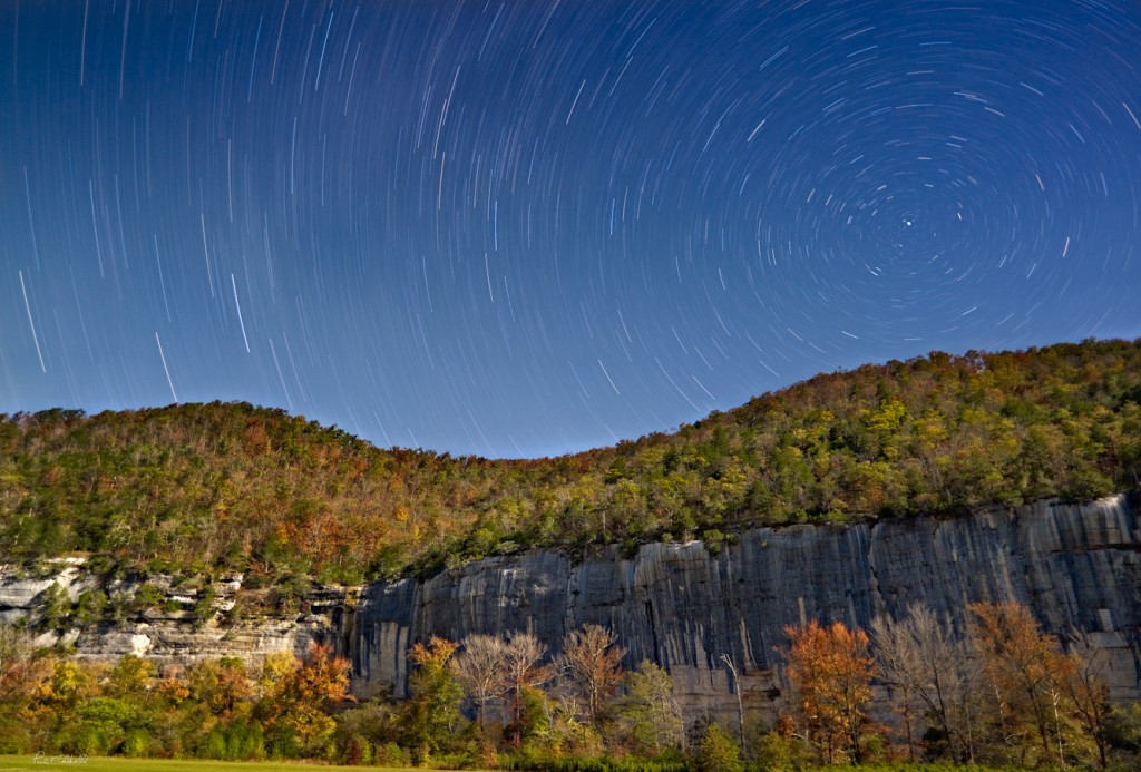 Star Trails over Roark Bluff in October
