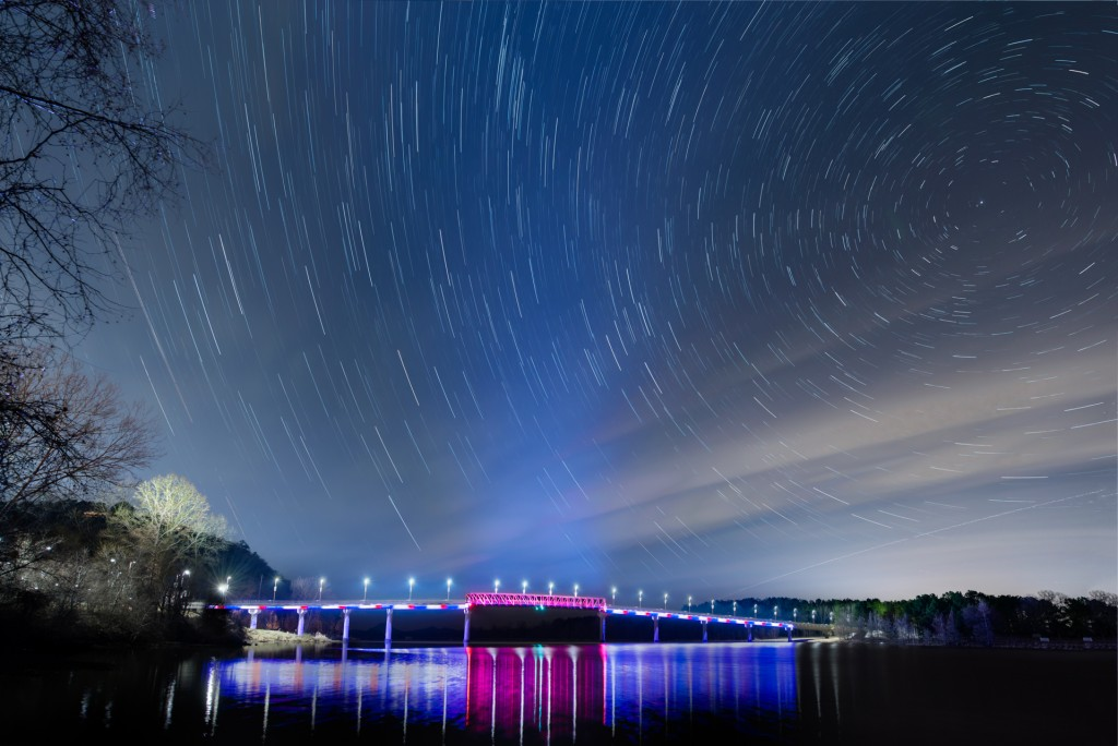 Night skies over the bridge at Twin Rivers Park