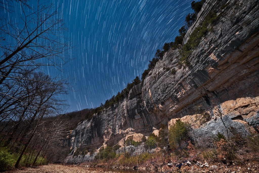 Night skies over Roark Bluff on the Buffalo River January 2013