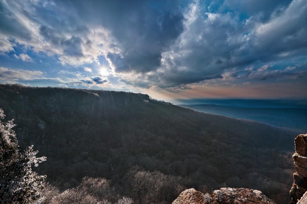 Sunset over Camron Bluff on Mt Magazine in Arkansas