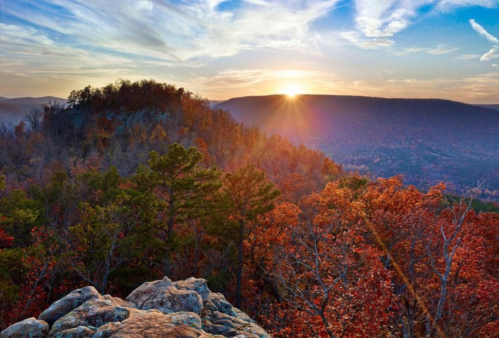 Sunset over Sams Throne in the Arkansas Ozarks