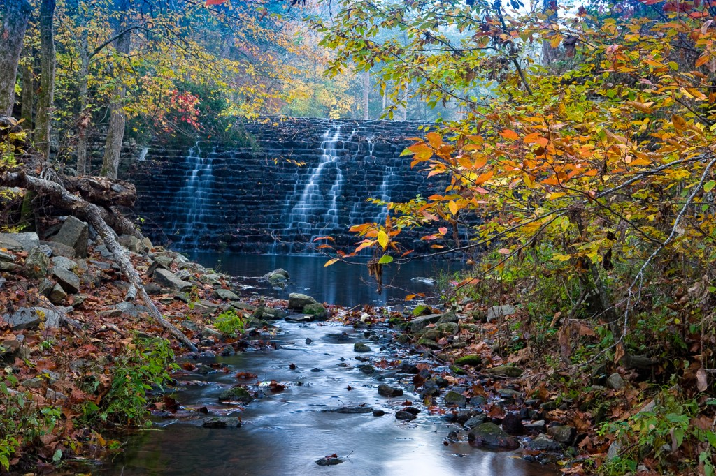 Fall scene at the Gunner Pool Dam--Gunner Pool Campground