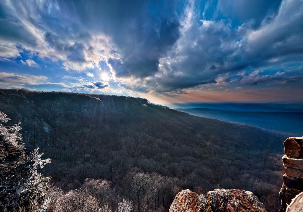 Sunset over Cameron Bluff on Mt. Magazine