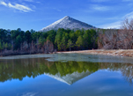 Wintertime reflection of Pinnacle Mountain