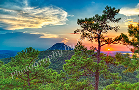 small copywrited Summertime sunset over Pinnacle Mountain