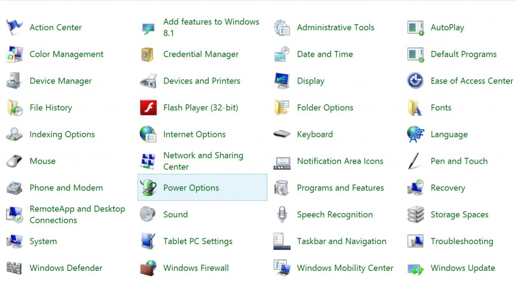 Surface Pro 3 power options