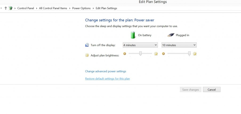 Surface pro3 power options