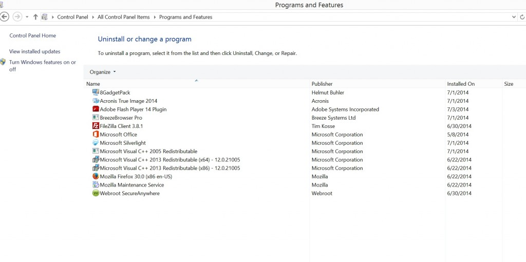 Surface pro 3 programs and features