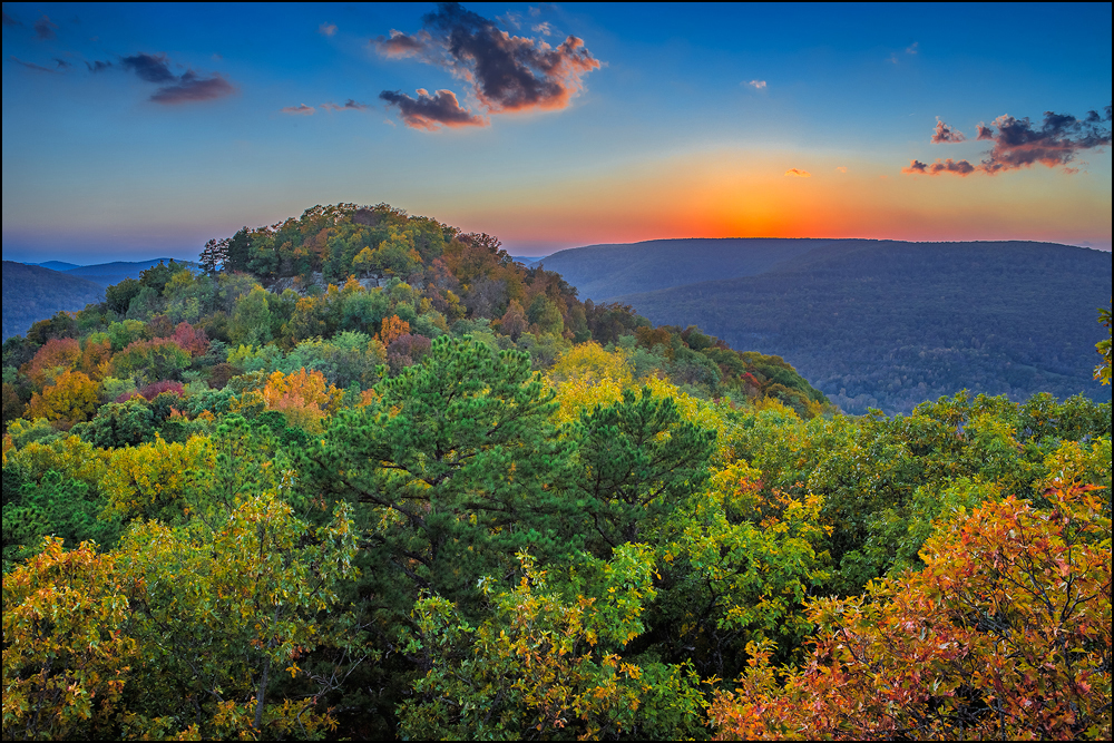 Sam's Throne Afterglow in the Arkansas Ozarks
