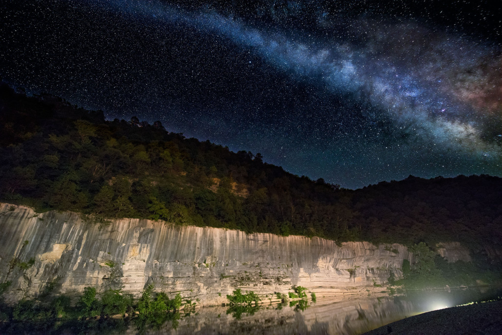 The Milky Way over the Buffalo River at Buffalo Point, Buffalo National River.