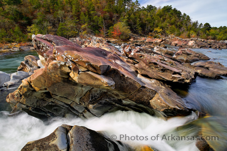 Cossatot Falls on the Cossatot River, one of the most impressive water features in Arkansas.