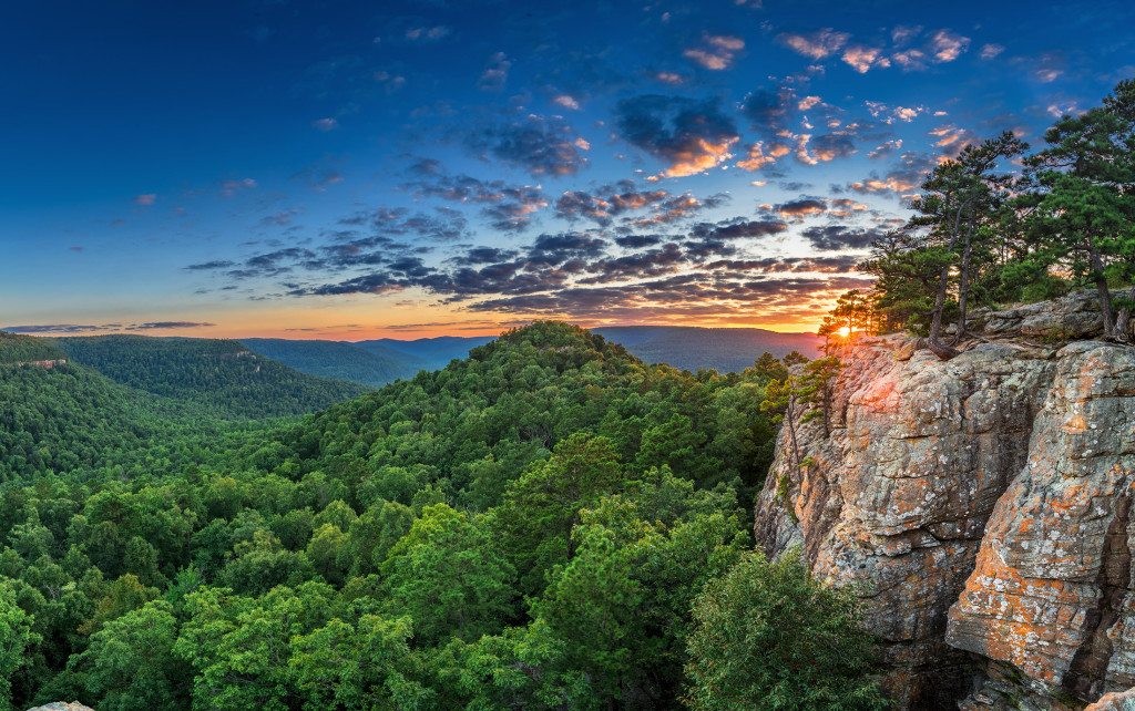 Late summer sunset from Sams Throne in the Arkansas Ozark mountains.