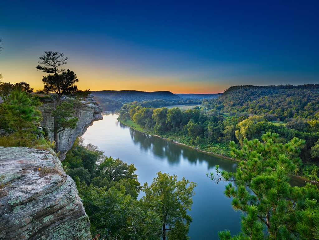 Afterglow from near Calico Rock on the White River in Arkansas.